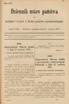 Dziennik Ustaw Państwa dla Królestw i Krajów w Radzie Państwa Reprezentowanych. 1917, cz.108
