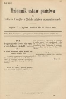 Dziennik Ustaw Państwa dla Królestw i Krajów w Radzie Państwa Reprezentowanych. 1917, cz.109