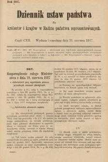 Dziennik Ustaw Państwa dla Królestw i Krajów w Radzie Państwa Reprezentowanych. 1917, cz.112