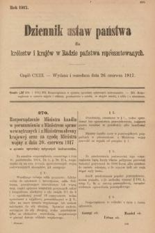 Dziennik Ustaw Państwa dla Królestw i Krajów w Radzie Państwa Reprezentowanych. 1917, cz.113
