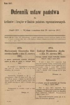Dziennik Ustaw Państwa dla Królestw i Krajów w Radzie Państwa Reprezentowanych. 1917, cz.115