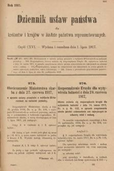 Dziennik Ustaw Państwa dla Królestw i Krajów w Radzie Państwa Reprezentowanych. 1917, cz.116