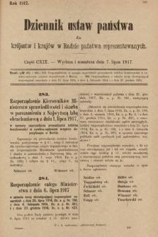 Dziennik Ustaw Państwa dla Królestw i Krajów w Radzie Państwa Reprezentowanych. 1917, cz.119
