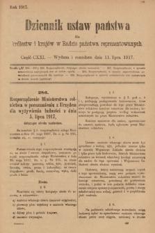 Dziennik Ustaw Państwa dla Królestw i Krajów w Radzie Państwa Reprezentowanych. 1917, cz.121