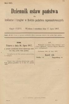 Dziennik Ustaw Państwa dla Królestw i Krajów w Radzie Państwa Reprezentowanych. 1917, cz.126