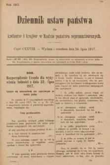 Dziennik Ustaw Państwa dla Królestw i Krajów w Radzie Państwa Reprezentowanych. 1917, cz.128