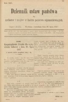 Dziennik Ustaw Państwa dla Królestw i Krajów w Radzie Państwa Reprezentowanych. 1917, cz.131