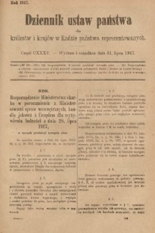 Dziennik Ustaw Państwa dla Królestw i Krajów w Radzie Państwa Reprezentowanych. 1917, cz.135