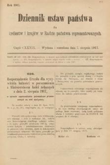 Dziennik Ustaw Państwa dla Królestw i Krajów w Radzie Państwa Reprezentowanych. 1917, cz.139