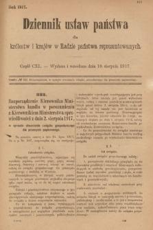 Dziennik Ustaw Państwa dla Królestw i Krajów w Radzie Państwa Reprezentowanych. 1917, cz.140
