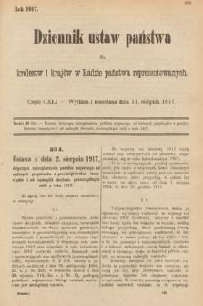 Dziennik Ustaw Państwa dla Królestw i Krajów w Radzie Państwa Reprezentowanych. 1917, cz.141