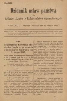 Dziennik Ustaw Państwa dla Królestw i Krajów w Radzie Państwa Reprezentowanych. 1917, cz.142
