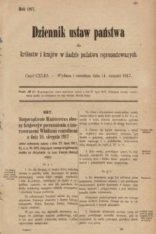 Dziennik Ustaw Państwa dla Królestw i Krajów w Radzie Państwa Reprezentowanych. 1917, cz.143