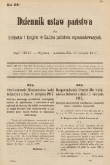 Dziennik Ustaw Państwa dla Królestw i Krajów w Radzie Państwa Reprezentowanych. 1917, cz.144