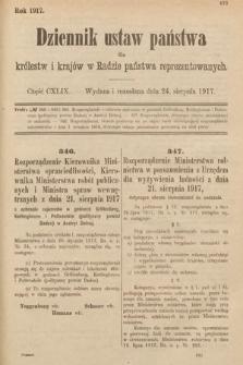 Dziennik Ustaw Państwa dla Królestw i Krajów w Radzie Państwa Reprezentowanych. 1917, cz.149