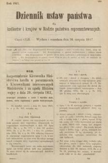 Dziennik Ustaw Państwa dla Królestw i Krajów w Radzie Państwa Reprezentowanych. 1917, cz.152