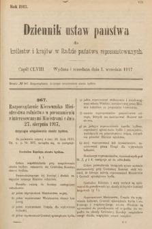 Dziennik Ustaw Państwa dla Królestw i Krajów w Radzie Państwa Reprezentowanych. 1917, cz.158