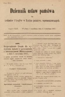 Dziennik Ustaw Państwa dla Królestw i Krajów w Radzie Państwa Reprezentowanych. 1917, cz.159