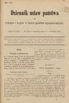 Dziennik Ustaw Państwa dla Królestw i Krajów w Radzie Państwa Reprezentowanych. 1917, cz.163