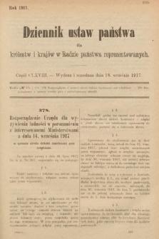 Dziennik Ustaw Państwa dla Królestw i Krajów w Radzie Państwa Reprezentowanych. 1917, cz.168