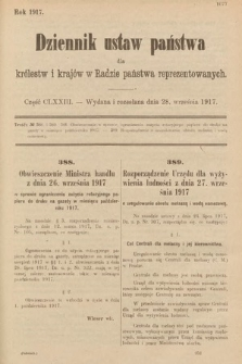 Dziennik Ustaw Państwa dla Królestw i Krajów w Radzie Państwa Reprezentowanych. 1917, cz.173