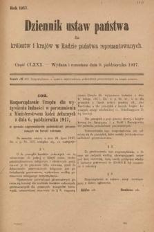 Dziennik Ustaw Państwa dla Królestw i Krajów w Radzie Państwa Reprezentowanych. 1917, cz.180