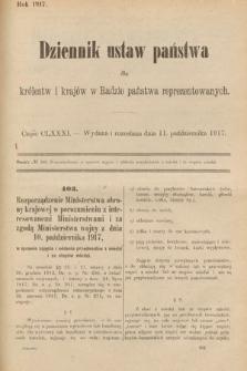 Dziennik Ustaw Państwa dla Królestw i Krajów w Radzie Państwa Reprezentowanych. 1917, cz.181