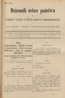 Dziennik Ustaw Państwa dla Królestw i Krajów w Radzie Państwa Reprezentowanych. 1917, cz.182