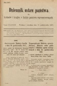 Dziennik Ustaw Państwa dla Królestw i Krajów w Radzie Państwa Reprezentowanych. 1917, cz.183