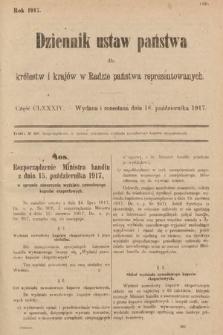 Dziennik Ustaw Państwa dla Królestw i Krajów w Radzie Państwa Reprezentowanych. 1917, cz.184