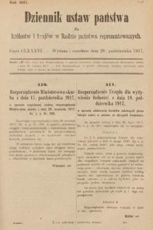Dziennik Ustaw Państwa dla Królestw i Krajów w Radzie Państwa Reprezentowanych. 1917, cz.186