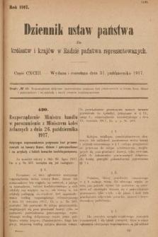 Dziennik Ustaw Państwa dla Królestw i Krajów w Radzie Państwa Reprezentowanych. 1917, cz.193