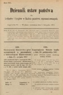 Dziennik Ustaw Państwa dla Królestw i Krajów w Radzie Państwa Reprezentowanych. 1917, cz.196