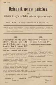 Dziennik Ustaw Państwa dla Królestw i Krajów w Radzie Państwa Reprezentowanych. 1917, cz.199