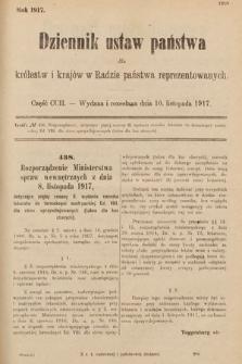 Dziennik Ustaw Państwa dla Królestw i Krajów w Radzie Państwa Reprezentowanych. 1917, cz.202