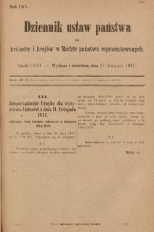 Dziennik Ustaw Państwa dla Królestw i Krajów w Radzie Państwa Reprezentowanych. 1917, cz.206