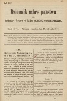Dziennik Ustaw Państwa dla Królestw i Krajów w Radzie Państwa Reprezentowanych. 1917, cz.207
