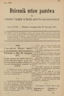 Dziennik Ustaw Państwa dla Królestw i Krajów w Radzie Państwa Reprezentowanych. 1917, cz.208