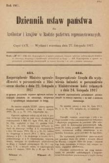 Dziennik Ustaw Państwa dla Królestw i Krajów w Radzie Państwa Reprezentowanych. 1917, cz.210