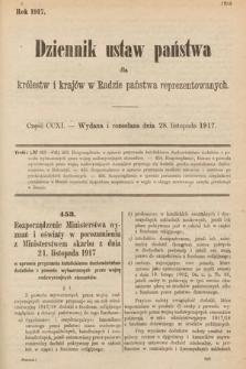 Dziennik Ustaw Państwa dla Królestw i Krajów w Radzie Państwa Reprezentowanych. 1917, cz.211