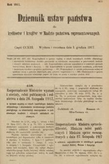 Dziennik Ustaw Państwa dla Królestw i Krajów w Radzie Państwa Reprezentowanych. 1917, cz.213