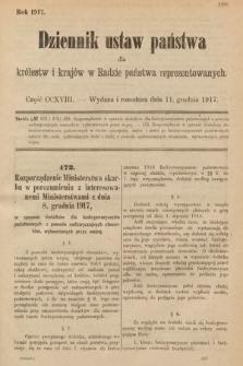 Dziennik Ustaw Państwa dla Królestw i Krajów w Radzie Państwa Reprezentowanych. 1917, cz.218