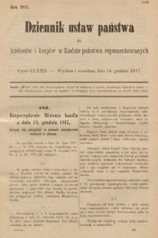Dziennik Ustaw Państwa dla Królestw i Krajów w Radzie Państwa Reprezentowanych. 1917, cz.222