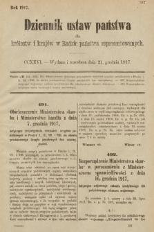 Dziennik Ustaw Państwa dla Królestw i Krajów w Radzie Państwa Reprezentowanych. 1917, cz.226