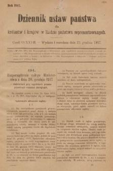 Dziennik Ustaw Państwa dla Królestw i Krajów w Radzie Państwa Reprezentowanych. 1917, cz.227
