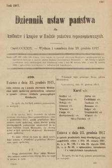 Dziennik Ustaw Państwa dla Królestw i Krajów w Radzie Państwa Reprezentowanych. 1917, cz.229