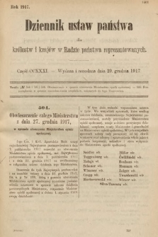 Dziennik Ustaw Państwa dla Królestw i Krajów w Radzie Państwa Reprezentowanych. 1917, cz.231