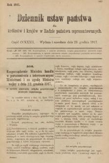 Dziennik Ustaw Państwa dla Królestw i Krajów w Radzie Państwa Reprezentowanych. 1917, cz.232
