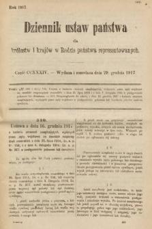 Dziennik Ustaw Państwa dla Królestw i Krajów w Radzie Państwa Reprezentowanych. 1917, cz.234