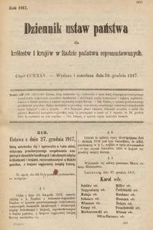 Dziennik Ustaw Państwa dla Królestw i Krajów w Radzie Państwa Reprezentowanych. 1917, cz.235